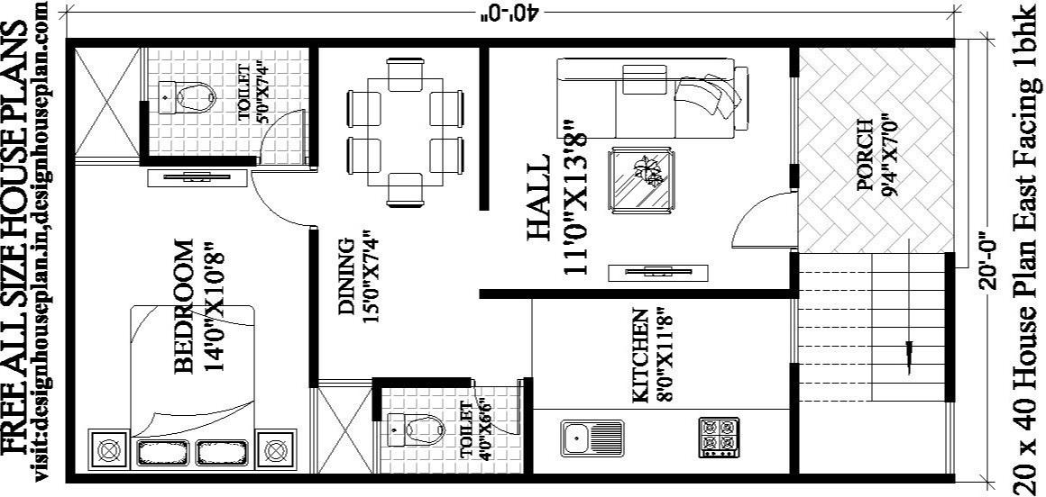 20 X 40 House Plans East Facing With Vastu 20x40 Plan Design House Plan