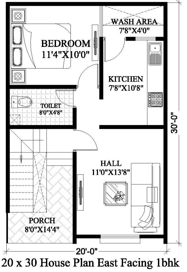 20x30 House Plan 20x30 House Plan East Facing Design House Plan